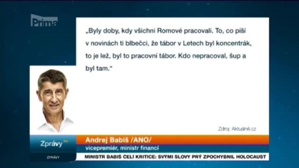 Ministr Babiš čelí kritice: Svými slovy prý zpochybnil holocaust