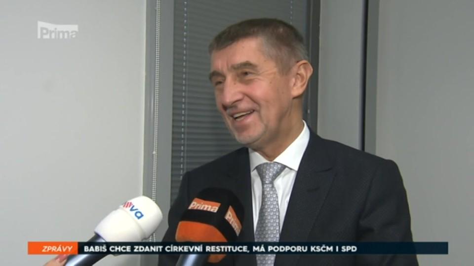 10. 11. 2017 ZPRÁVY: BABIŠ CHCE ZDANIT CÍRKEVNÍ RESTITUCE, MÁ PODPORU KSČM I SPD
