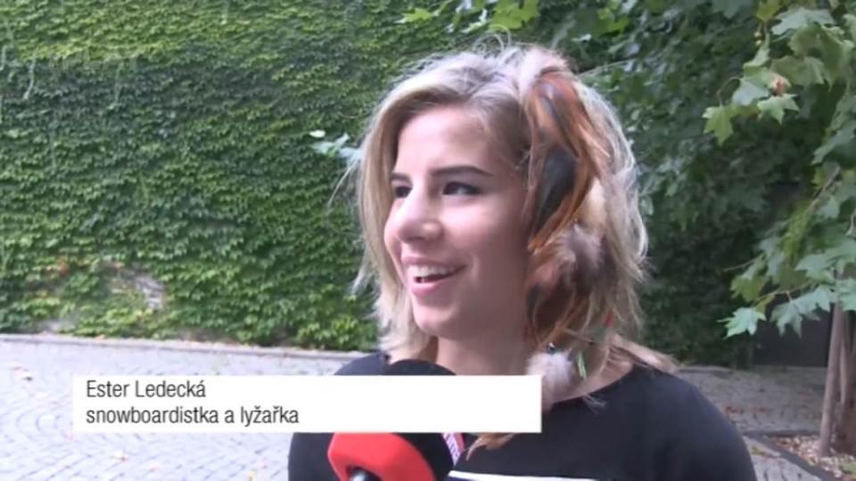 Ester Ledecká před natáčením TGM