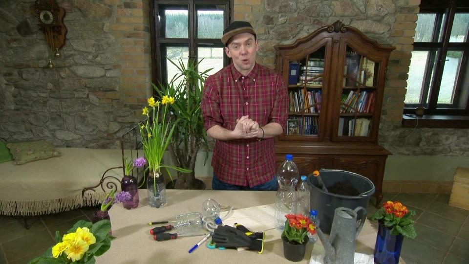 Vychytávky Ládi hrušky - Samozavlažovací květináč z petky a tkaničky